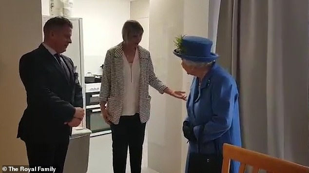In the video footage from the visit, Mrs Bowman was seen offering Her Royal Highness a cup of tea