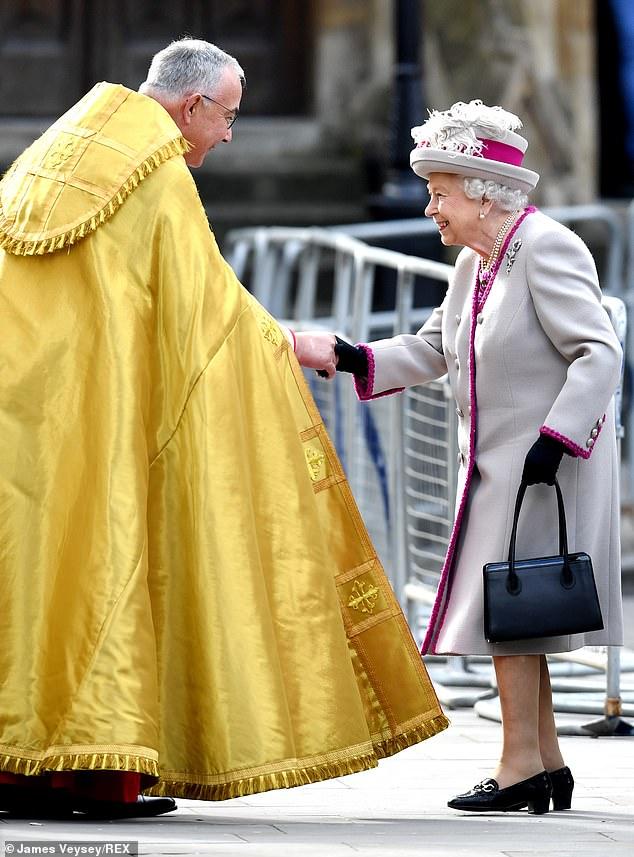 Her Royal Highness was seen beaming as she greeted Dr John Hall, Dean of Westminster Abbey