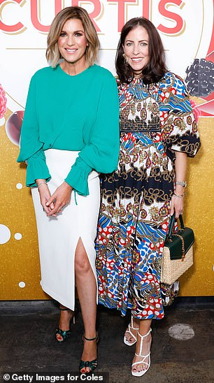 Friends: Kylie posed for photos with Nova radio host Michael 'Wippa' Wipfli's wife Lisa