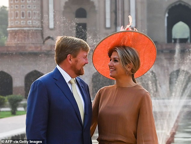 Maxima looked radiant as she stood with her husband at the ancient site which attracts tourists from across the world