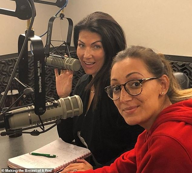 Andy Sealy, 39 (right), and Krysten Gentile, 37 (left), from Pennsylvania, were both diagnosed with stage IV breast cancer and have launched a podcast called Making the Breast of It
