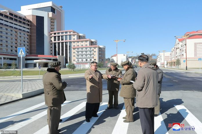 After his jaunt through the snowy Mount Paektu on his white horse, Kim Jong Un was seen locked in conversation with officials in nearby Samjiyon County