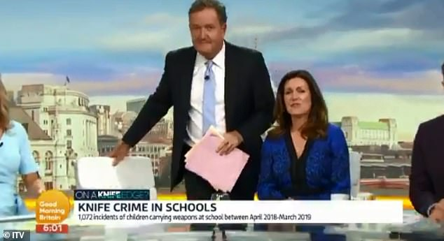 Piers Morgan was left flustered as the opening credits of Good Morning Britain rolled on Wednesday