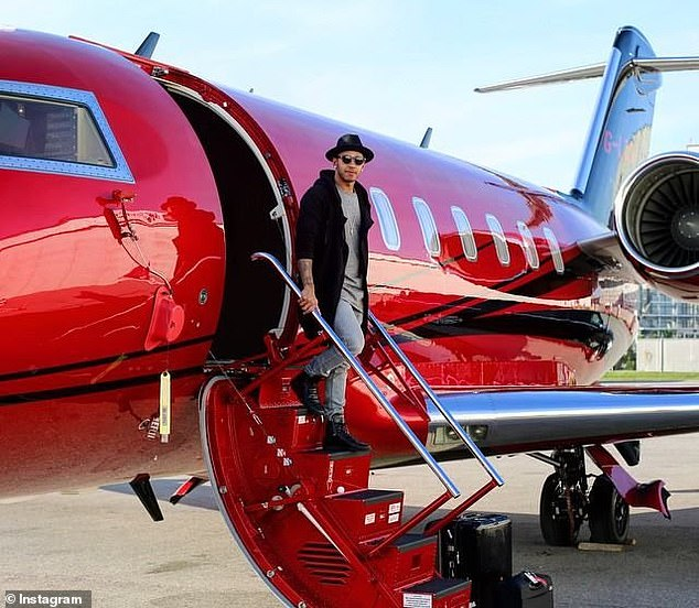 Lewis Hamilton made clear his feelings about the state of the world. He is pictured on his private jet, which he has reportedly now sold