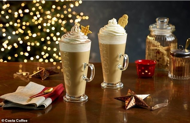 Costa Coffee have delighted social media users with their new Christmas menu, with one calling it 'heaven' (pictured, fan favourite Gingerbread lattes are making a comeback in this year's collection)