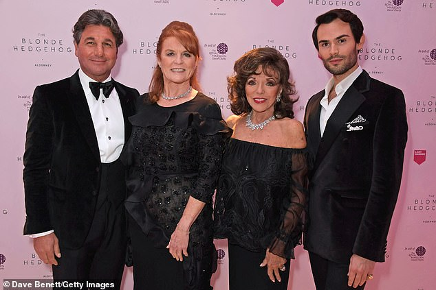 Sarah Ferguson, Duchess of York (second left), joinedGiorgio Veroni (left), Dame Joan Collins (second right) and Made in Chelsea star Mark-Francis Vandelli at the star-studded event