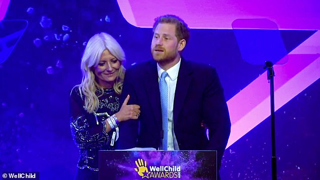 Dr Max Pemberton argues Prince Harry's (pictured being comforted by host Gaby Roslin) tears at the WellChild Awards in London on Tuesday night were out of place