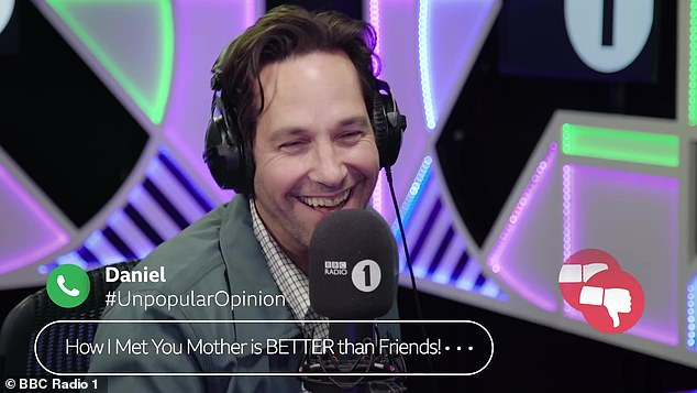 Not quite there for you... Paul Rudd admitted he's barely seen any episodes of Friends while appearing on Radio 1 Breakfast in the UK on Tuesday