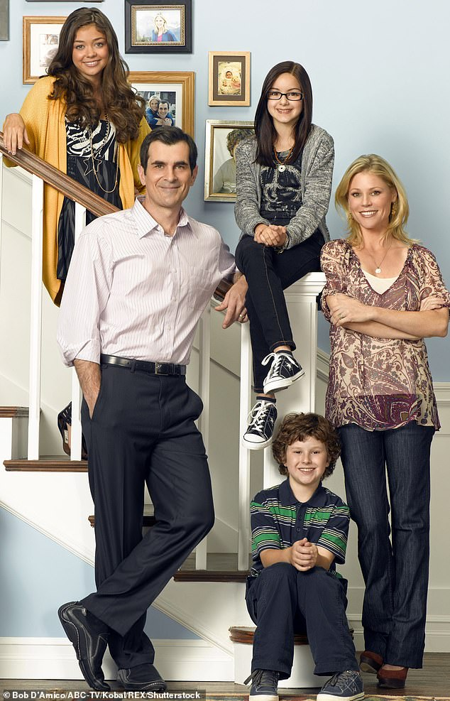 Modern Family: Ariel poses with her on-screen family for her series back in 2009. They are currently filming their last season