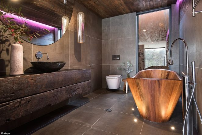The home sleeps two people, has one bathroom and starts at $435 per night (pictured is the famed Blackwood bathtub)