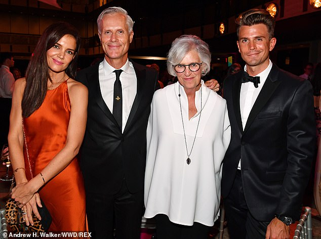 Quartet:The mother-daughter duo could be spotted posing up inside the event with fashion consultant Malcolm Carfrae (second from left) and interior designer Jeremiah Brent (right)