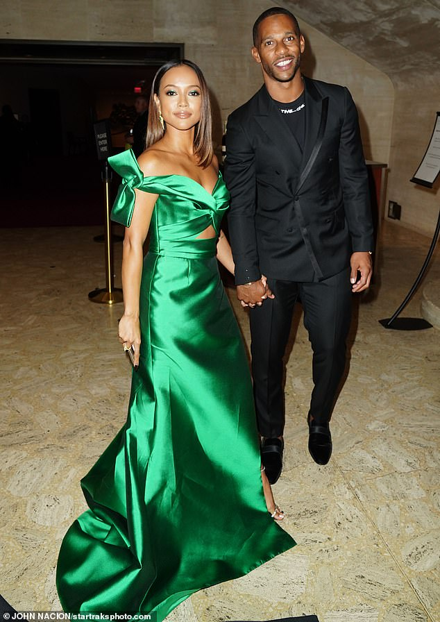 Hunk:Karrueche, who once had a relationship with Chris Brown, arrived at the ballet event on the arm of her dashing current beau Victor Cruz
