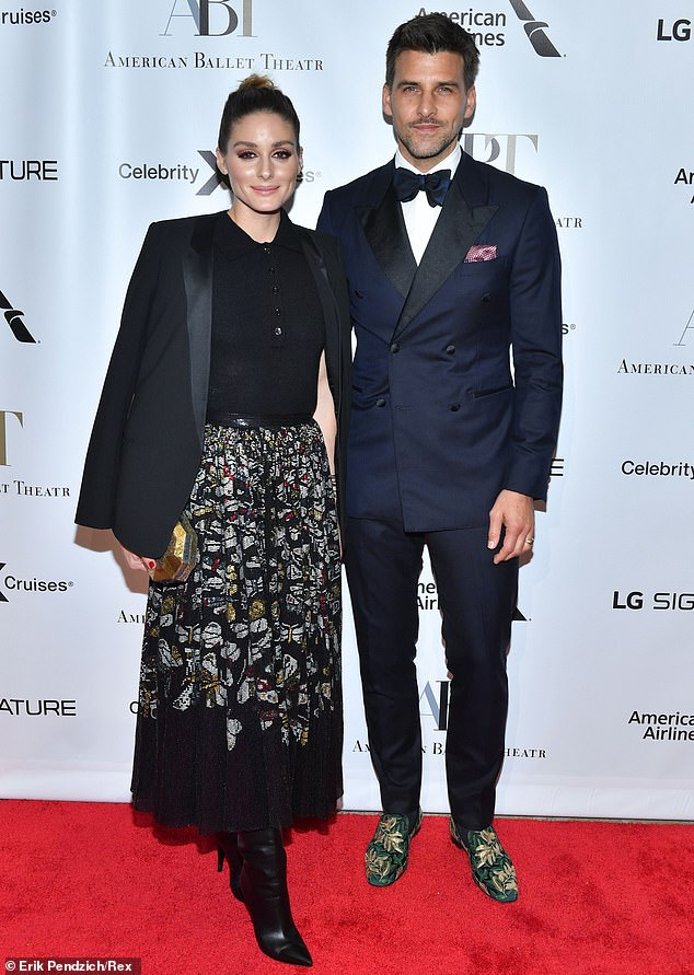 What a pair: Olivia Palermo swung by the red carpet with her husband and fellow model Johannes Huebl, whom she tied the knot with in 2014