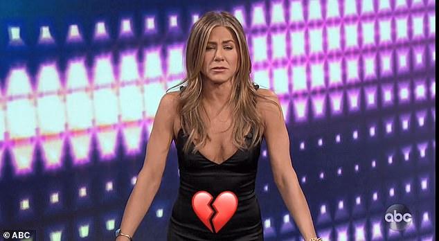Tough one: Jennifer struggled with a broken heart emoji symbolizing her 2006 movie The Break-Up