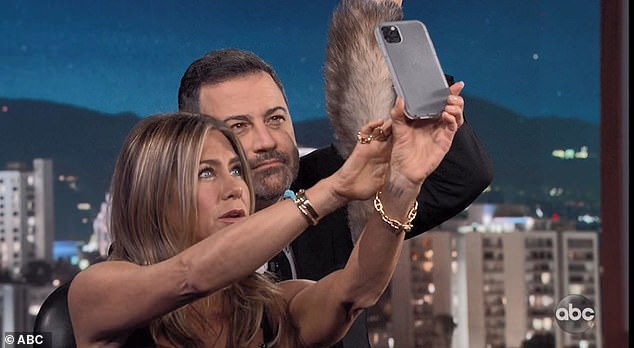 Selfie time: The actress took a selfie with Jimmy while on the ABC chat show