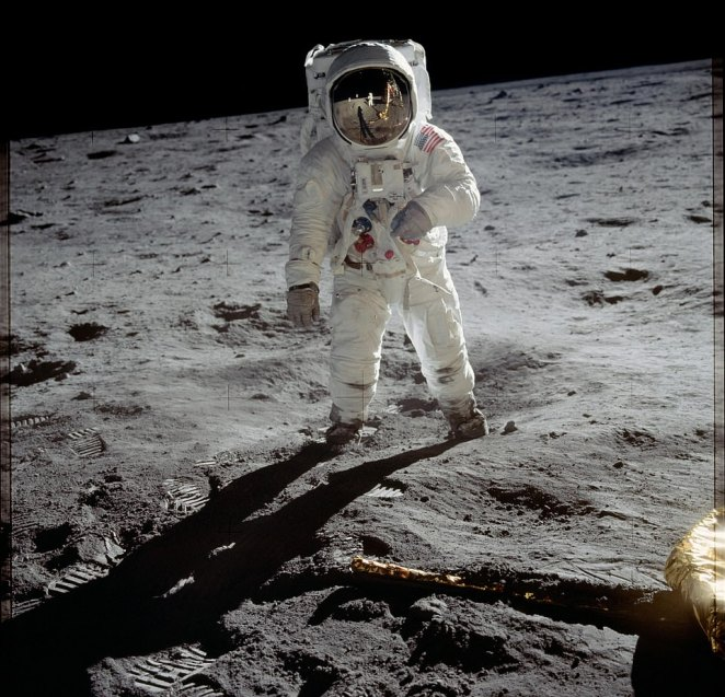 Buzz Aldrin seen walking on the surface of the Moonin 1969. On the morning of July 16, Apollo 11 astronauts Neil Armstrong, Aldrin and Michael Collins sat atop the Saturn V at Launch Complex 39A at the Kennedy Space Center in Florida. The three-stage 363-foot rocket used its 7.5 million pounds of thrust to propel them into space and into history for the first Moon landing. This iconic image got 23 per cent of the vote