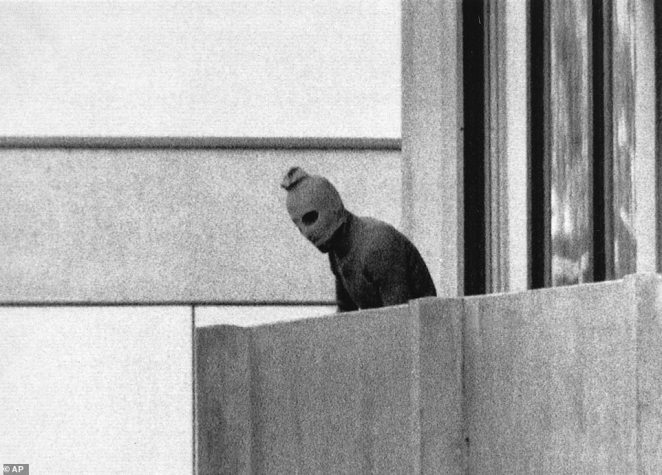 A member of the Arab Commando group which seized members of the Israeli Olympic team and held them hostage at their quarters at the Munich Olympic Village appearing wearing a hood over his face on the balcony of the village building. The siege led to the deaths of 11 Israeli athletes killed by the Palestinian Black September militant group during the 1972 Munich Olympics. This pictures got 13 per cent of the vote