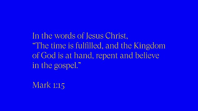 On-theme: The trailer closes with a line from Jesus out of Mark 1:15: 'The time is fulfilled, and the Kingdom of God is at hand, repent and believe in the gospel'