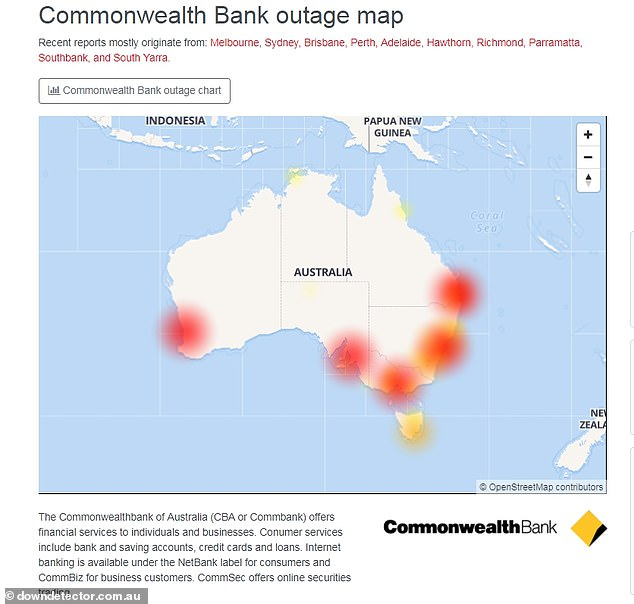 An outage map shows the issue is affecting customers nationwide, with many of them furious they were not alerted by the bank before they had tried to make a payment