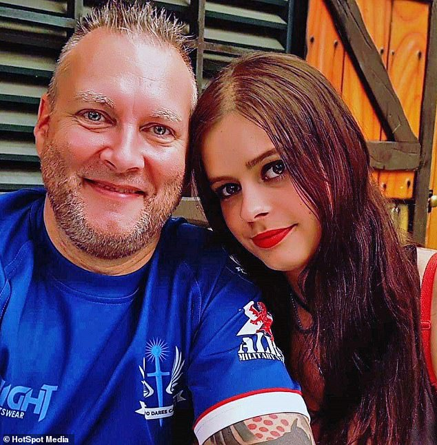 Terri Foster-Guy (right), 26, from Powys, South Wales, said she does not care what people think of her age-gap relationship with partner Kirk Campbell (left), 53