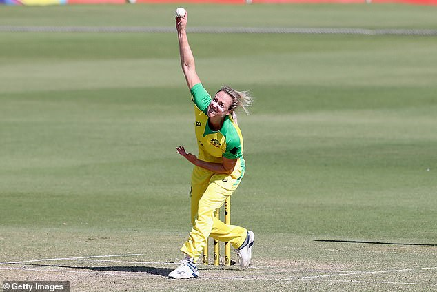 Perry pictured bowling in a One Day International game against Sri Lanka earlier this year