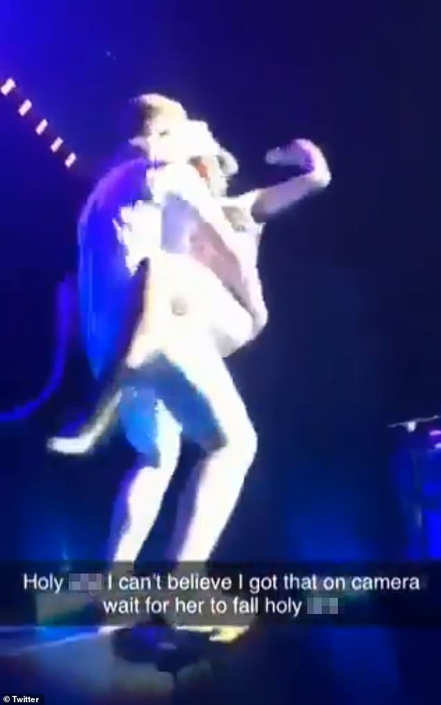 Oops! Gaga was involved in a scary accident during her Las Vegas show on Thursday after a fan, thought to be called Jack, picked her up but his leg buckled