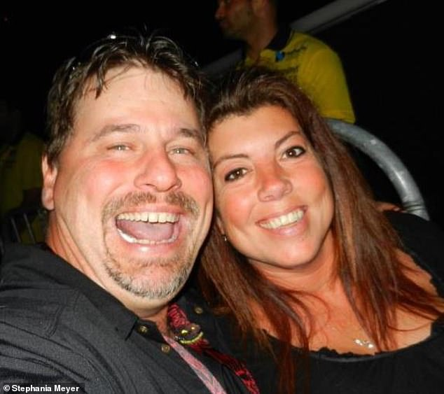 Stephania and Michael (pictured at a Motley Crüe concert in 2015) met in person just six weeks after chatting online - and said by that point, they both knew they had 'a connection that was unlike any other'