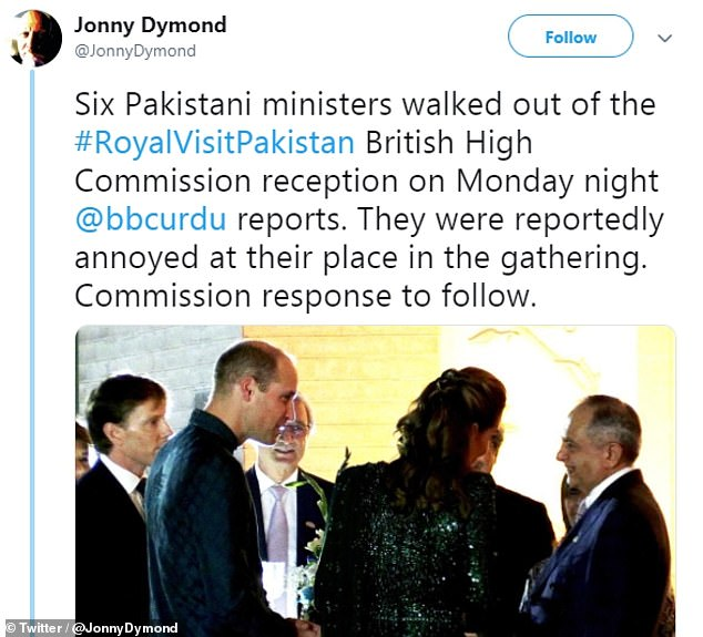 BBC royal correspondent Jonny Dymond said the ministers were 'annoyed at their place in the gathering'