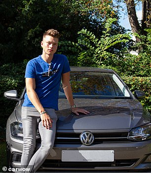 The male model stands in front of aVolkswagen Polo