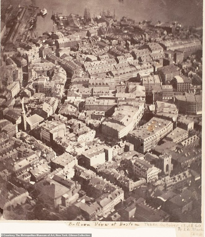 A photograph of Boston, called 'As the Eagle and the Wild Goose See It', taken from a hot-air balloon in 1860 by James Wallace Black. It's widely believed to be the first picture of the U.S from above and, according to the book, the world's oldest surviving aerial photograph