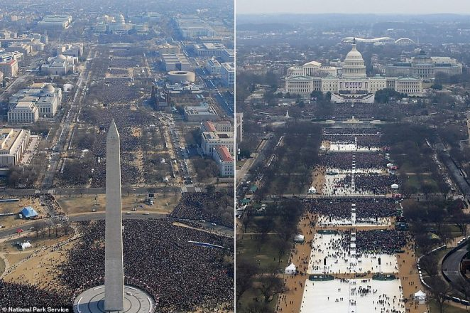 Comparative photos showing the inauguration of both Barrack Obama in 2009 (left) and Donald Trump in 2017 (right) in Washington, DC. Some estimate that twice as many people attended the former. Trump supporters claim that the photographs are misleading because the image on the right was taken as the area was filling up. But clear time-lapse video evidence shows that at no point in the day did the crowd reach anywhere near the levels seen for the Obama inauguration