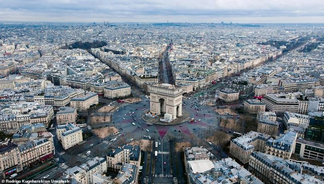 This image of the Arc de Triomphe in Paris was taken in 2018 byRodrigo Kugnharski, who the book describes as one of a 'new breed of creative professionals who are using drone photography to complement their day job'