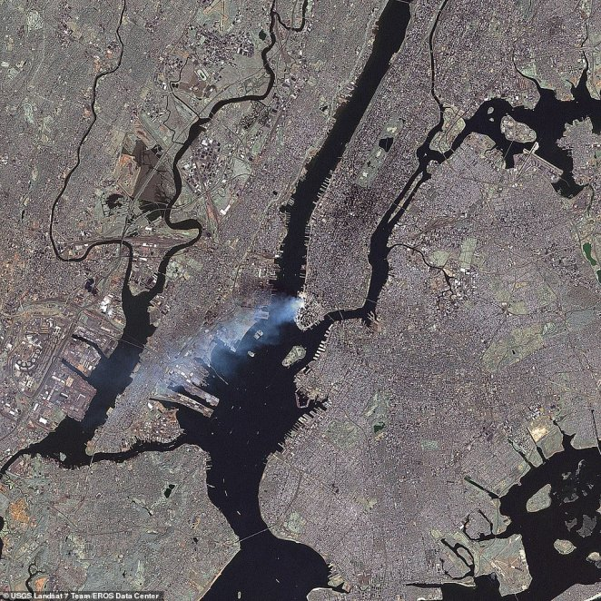 A Nasa satellite photo of the World Trade Center site on September 12, 2001. The attack, in which around 3,000 people died, was the worst-ever terrorist atrocity on U.S soil