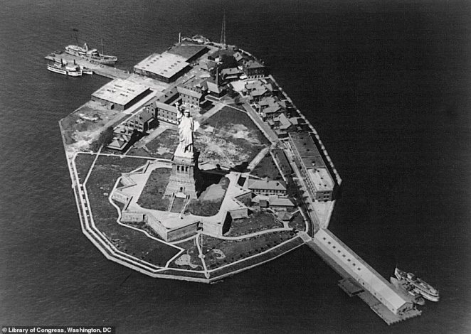 The Statue of Liberty from the air in 1922. The authors say that aerial pictures of Lady Liberty, a gift from France to America in 1885, taken around this time were rare