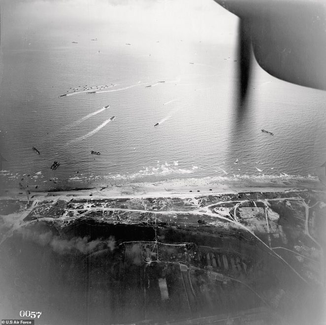 An image by an unknown photographer of the D-Day landings at Utah Beach, Normandy, France, in 1944