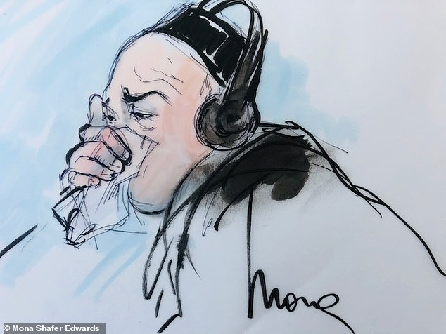 A father accused of driving his two autistic sons off a Los Angeles pier and killing them so he could make a claim on an insurance policy wept in court as his trial for alleged fraud got underway. Ali Elmezayen, 44, is seen weeping in a court sketch on Friday
