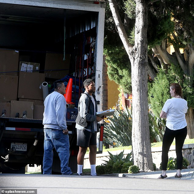 Time to move on: The moving truck was loaded with boxes
