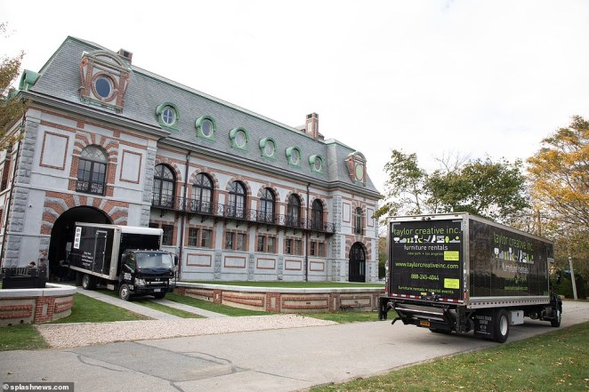 As the couple made their way to Newport, Rhode Island, deliveries were seen being made to their reported wedding venue, the extravagant Belcourt Of Newport castle, which was previously famed for being haunted with 'unpleasant energies'