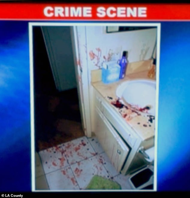 Murphy was a fitness buff and fought off her attacker, which caused him to cut himself and leave a trail of blood. Pictured: Blood in Murphy's bathroom where she tried to clean herself up after the attack