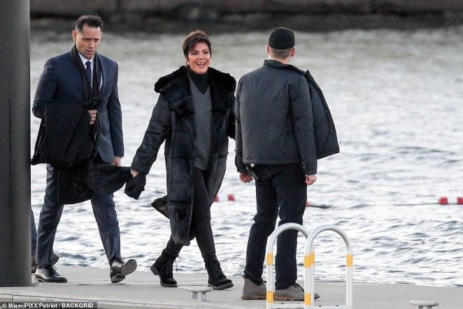 Guests for the couple's rehearsal dinner began arriving to Rose Island in Newport on boats Friday evening, with the savvy matriarch Kris Jenner among the first to arrive