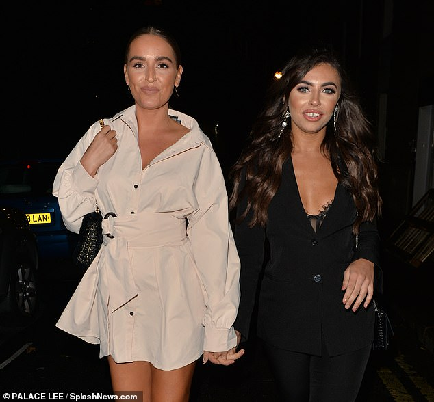 New look: Francesca unveiled new longer locks as she styled her brunette extensions into a glossy curly blow-dried hairdo (pictured with Chloe)