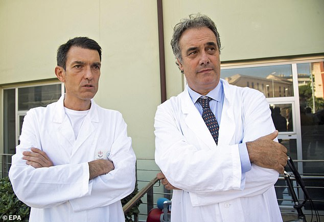 Dr Andrea Moscatelli, head of the neurological department, said Tafida would undergo a tracheostomy operation. Pictured: Director of Neonatal and Paediatric ICU Andrea Moscatelli (left) and Director of Intensive Care at the Giannina Gaslini Institute Luca Ramenghi (right)