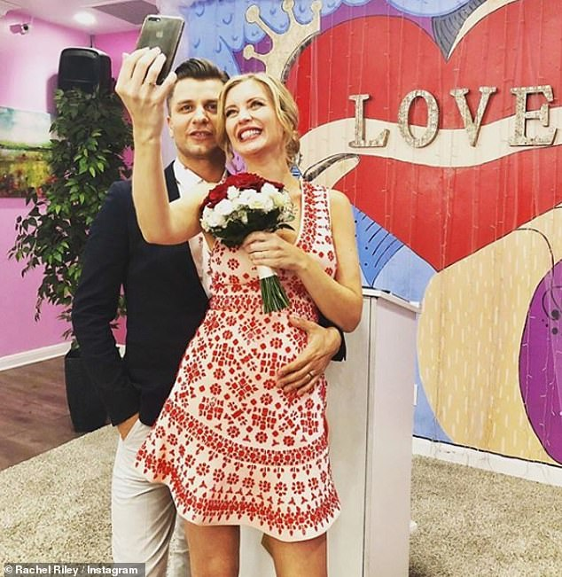 Wedded bliss:Rachel and Pasha married in a surprise Las Vegas ceremony in June, just weeks after announcing that they were expecting their first child