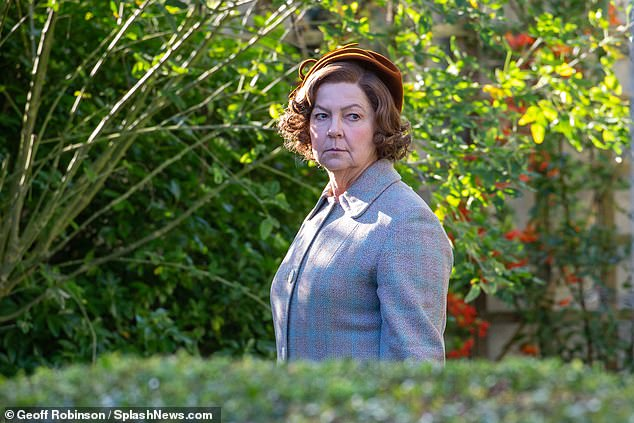Back in the role:The actor, 28, who plays the ITV show's Reverend Will Davenport, was also joined on set by actress Tessa Peake-Jones, who has reprised her role as Mrs Sylvia Maguire