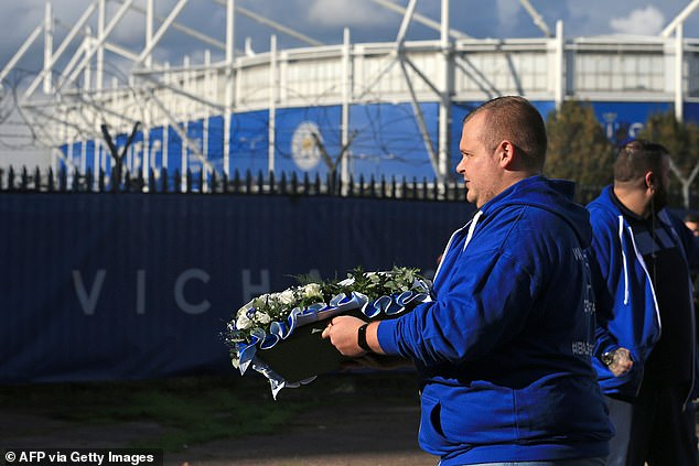 Floral tributes were laid for Khun Vichai, whose death hit the community hard last year
