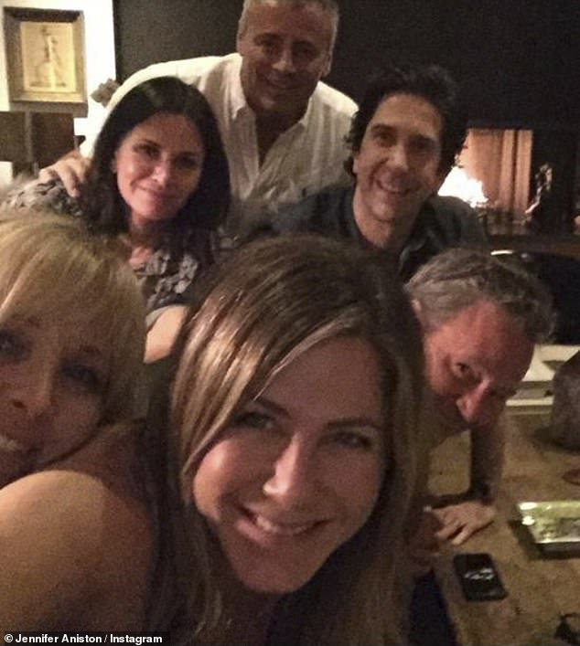 Breaking Instagram: Jennifer posted her first social media snap on Tuesday with her Friends pals and broke the record for racking up more than a million followers in the shortest time