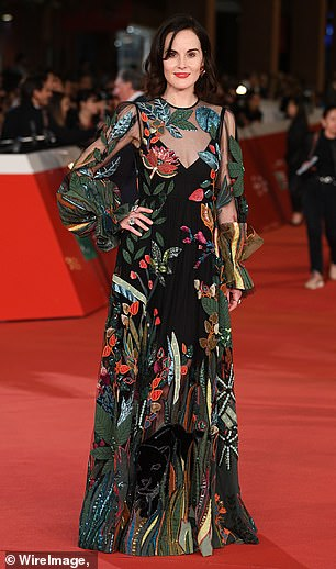 Wow: Michelle Dockery, 37, was stunning fans again on Saturday at the Rome Film Festival