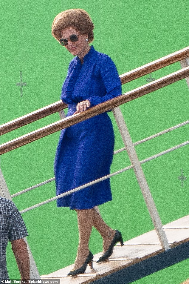 Gillian Anderson in her role as Prime Minister Margaret Thatcher in The Crown series 4. This scene, which was filmed in Spain, recreates the moment Mrs Thatcher arrived in the Bahamas for a meeting of Commonwealth leaders in 1985.