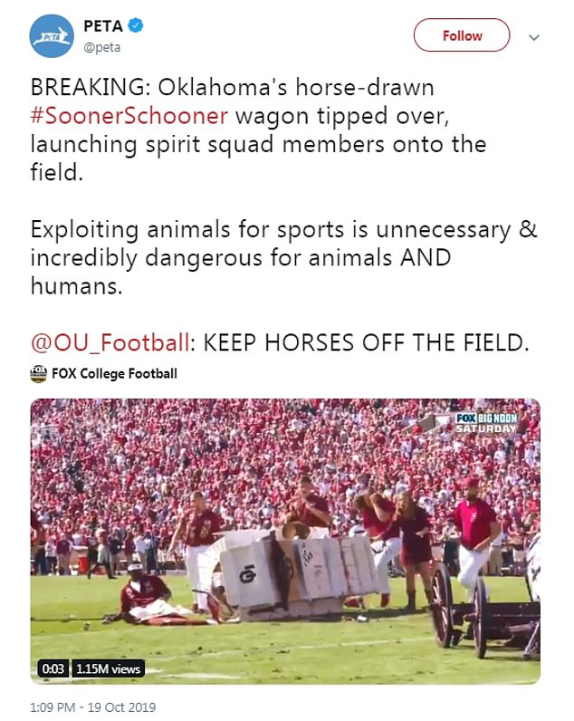 But not everyone found the incident funny, with PETA sharing footage of the spirit squad members being launched onto the field