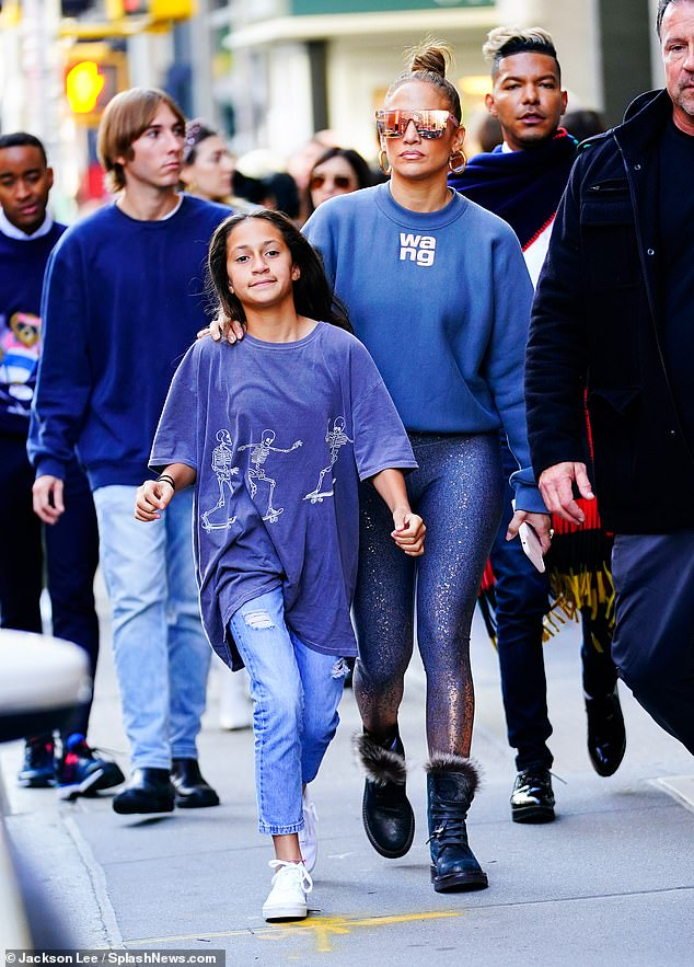 Still got it: Jennifer Lopez wound back the clock on Saturday, when the Hustlers star took daughter Emme out for a New York City shopping trip while decked out in Alexander Wang